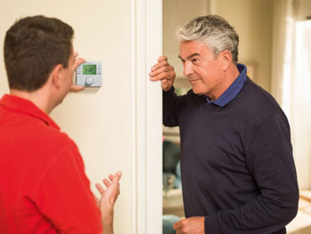 Worcester Installer Showing Central Heating Controls