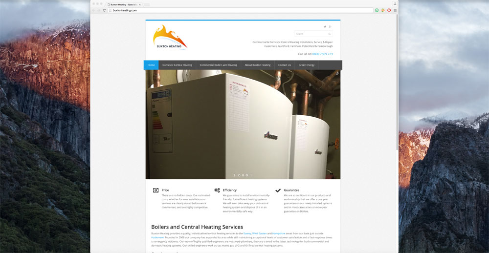 Buxton Heating Website Homepage