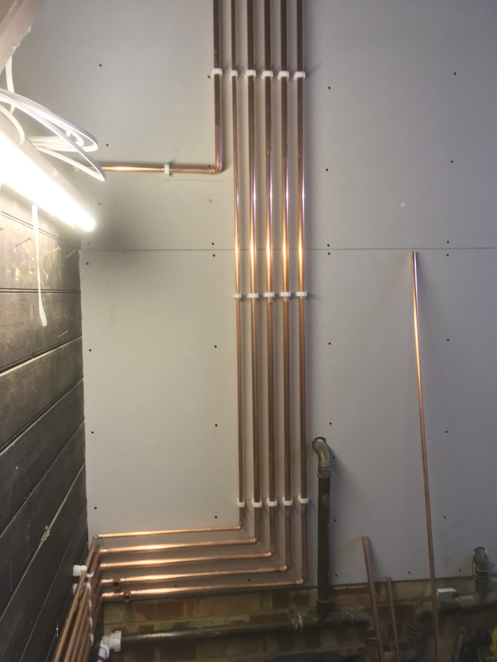Pipework from boiler installation